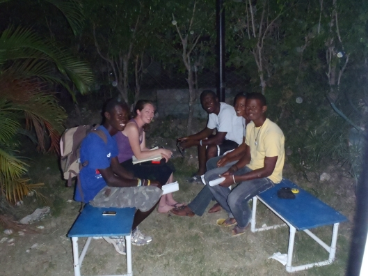 Meeting with students in Haiti in March, 2011.