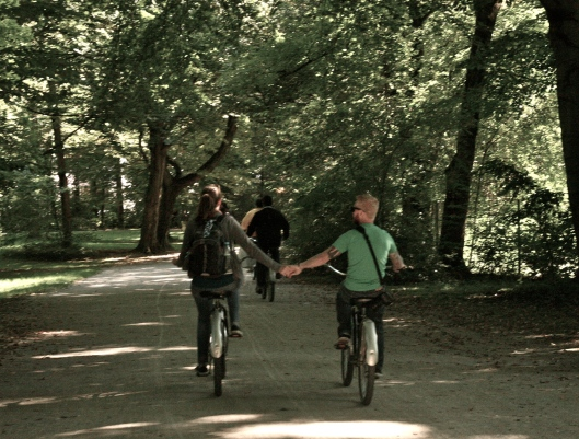 Jeff and I biking in the English Garden in Munich, Germany.