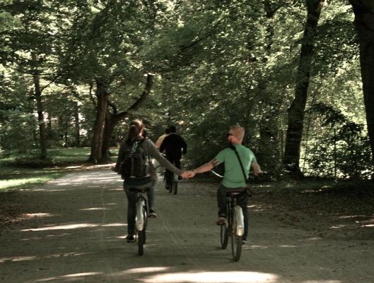 Jeff and I biking in the English Garden in Munich, Germany.